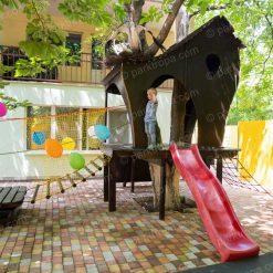 Домик на дереве и веревочный парк для детского сада