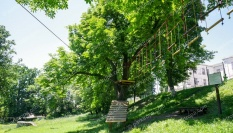 Веревочный парк и уличный тренажер streetworkout для школы