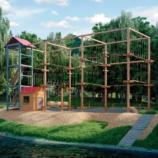 Веревочный парк на опорах, 24 этапа